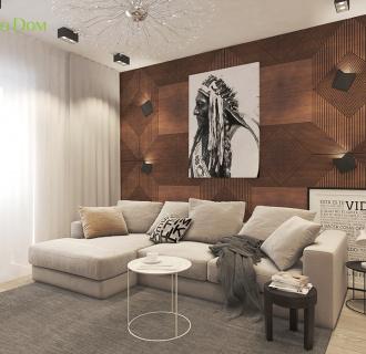 Дизайн двухкомантной квартиры 57 кв. м в современном стиле. Фото проекта