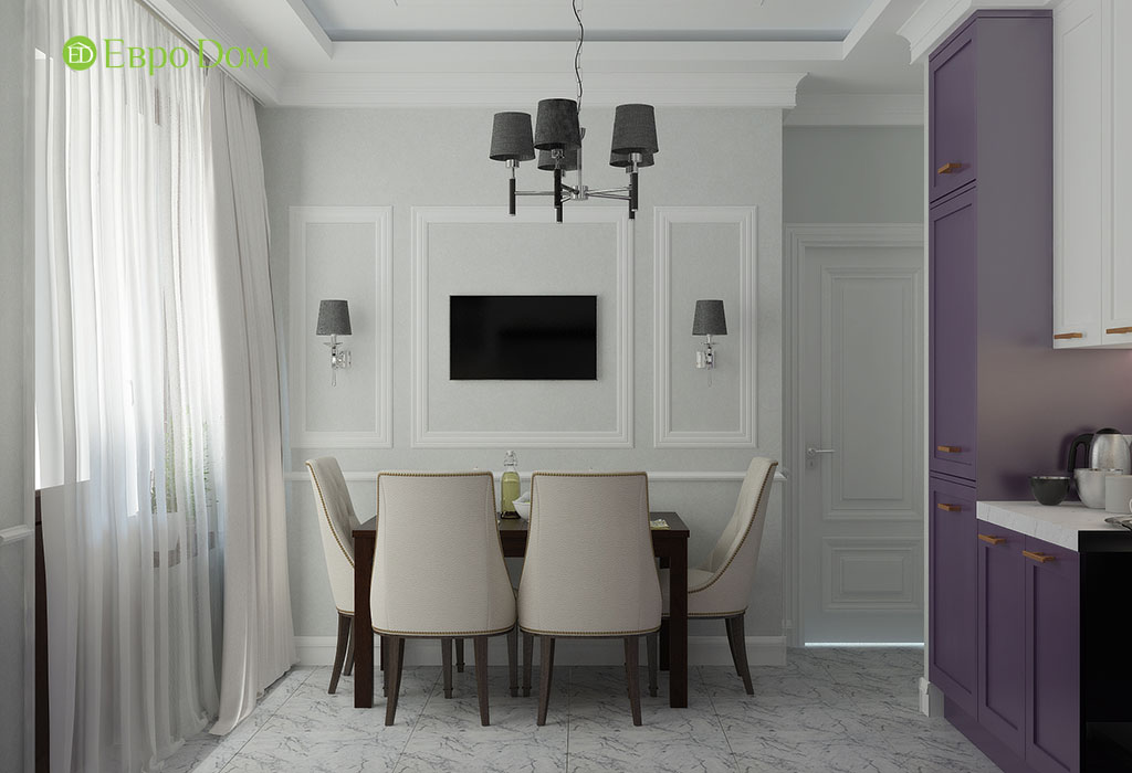 Дизайн 2-комнатной квартиры 60 кв. м в стиле неоклассика. Фото 05