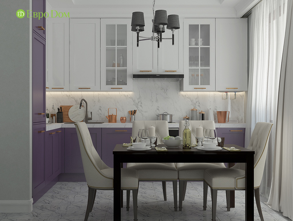 Дизайн 2-комнатной квартиры 60 кв. м в стиле неоклассика. Фото 07
