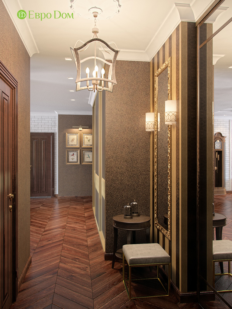 Дизайн трехкомнатной квартиры в английском стиле. Фото 010