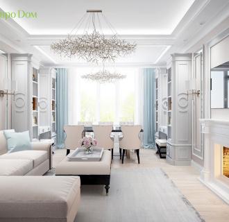 Дизайн трехкомнатной квартиры 90 кв. м в стиле неоклассика. Фото проекта