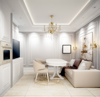Дизайн трехкомнатной квартиры 60 кв. м в стиле неоклассика. Фото проекта