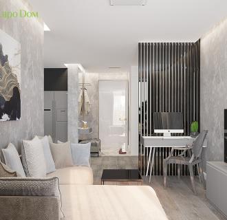 Дизайн двухкомнатной квартиры 50 кв. м в современном стиле. Фото проекта