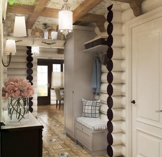 Дизайн интерьера деревянного дома 60 кв. м в стиле прованс. Фото проекта