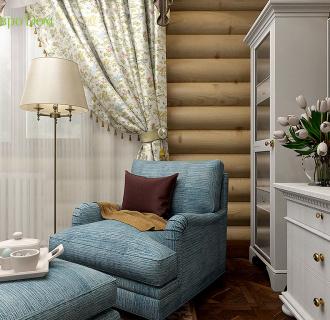 Дизайн интерьера деревянного дома 190 кв. м в стиле русский терем. Фото проекта