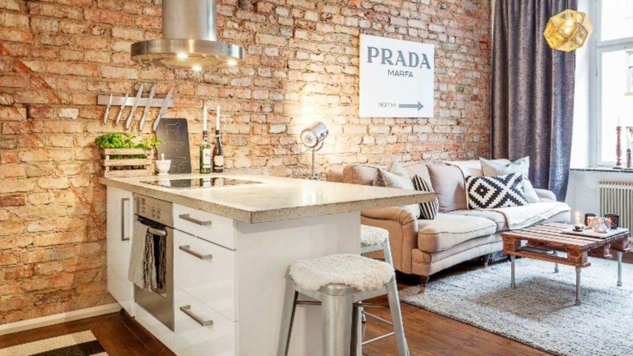 Дизайн квартиры в скандинавском стиле с кирпичной стеной
