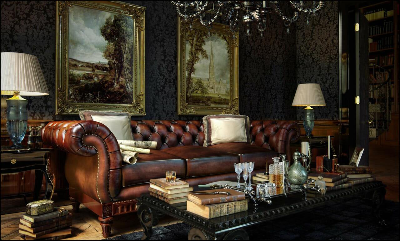 Интерьер темной гостиной в английском стиле на фото