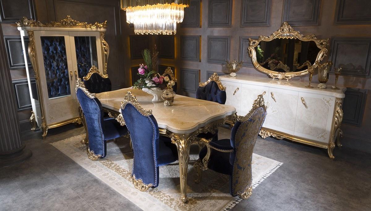 Столовая с золотой резной мебелью в стиле авангард