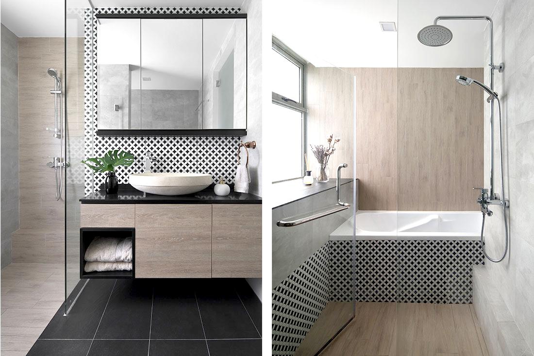 Маленькая ванная комната в японском стиле