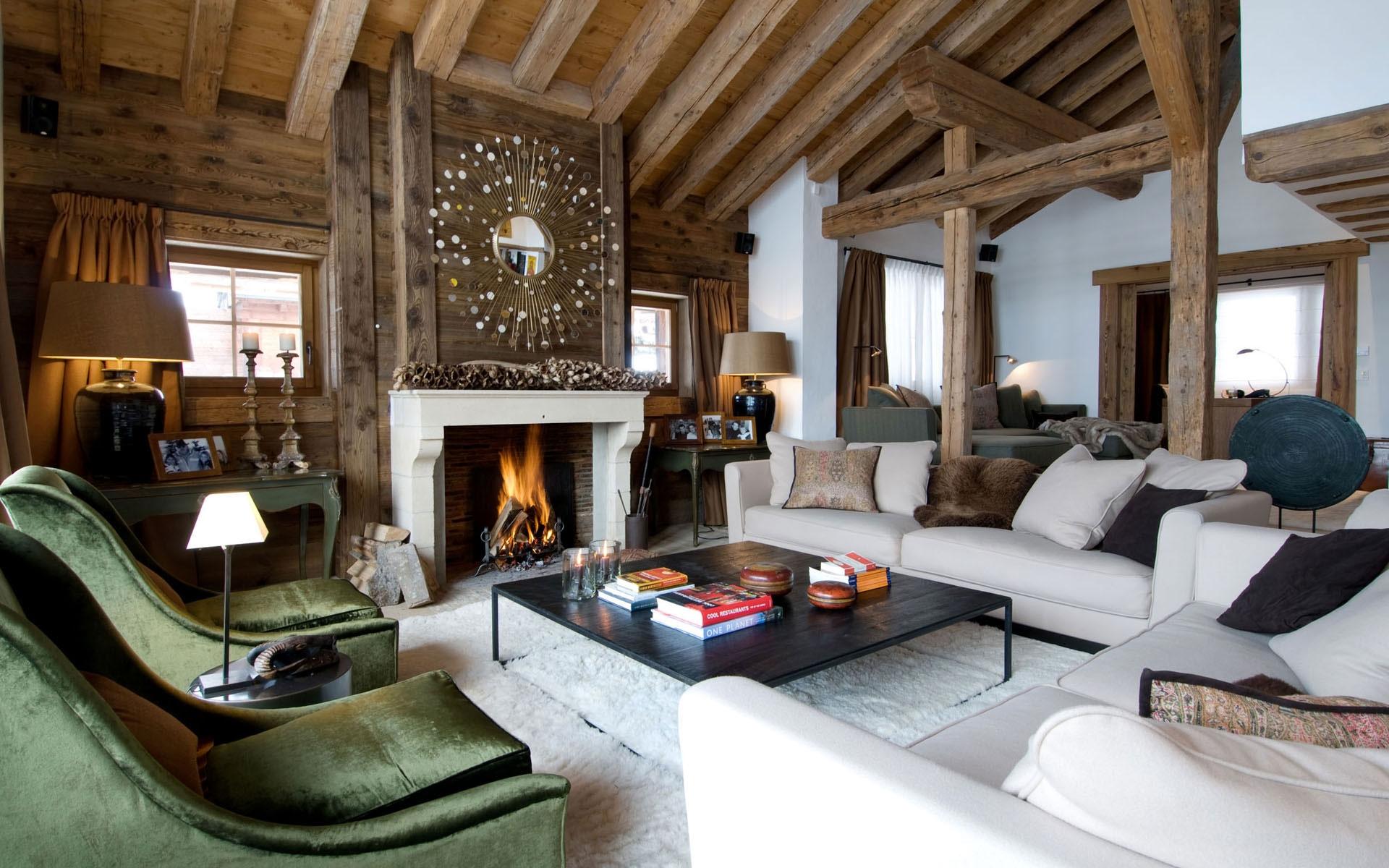 Дизайн интерьера гостиной комнаты в альпийском стиле 2019 года