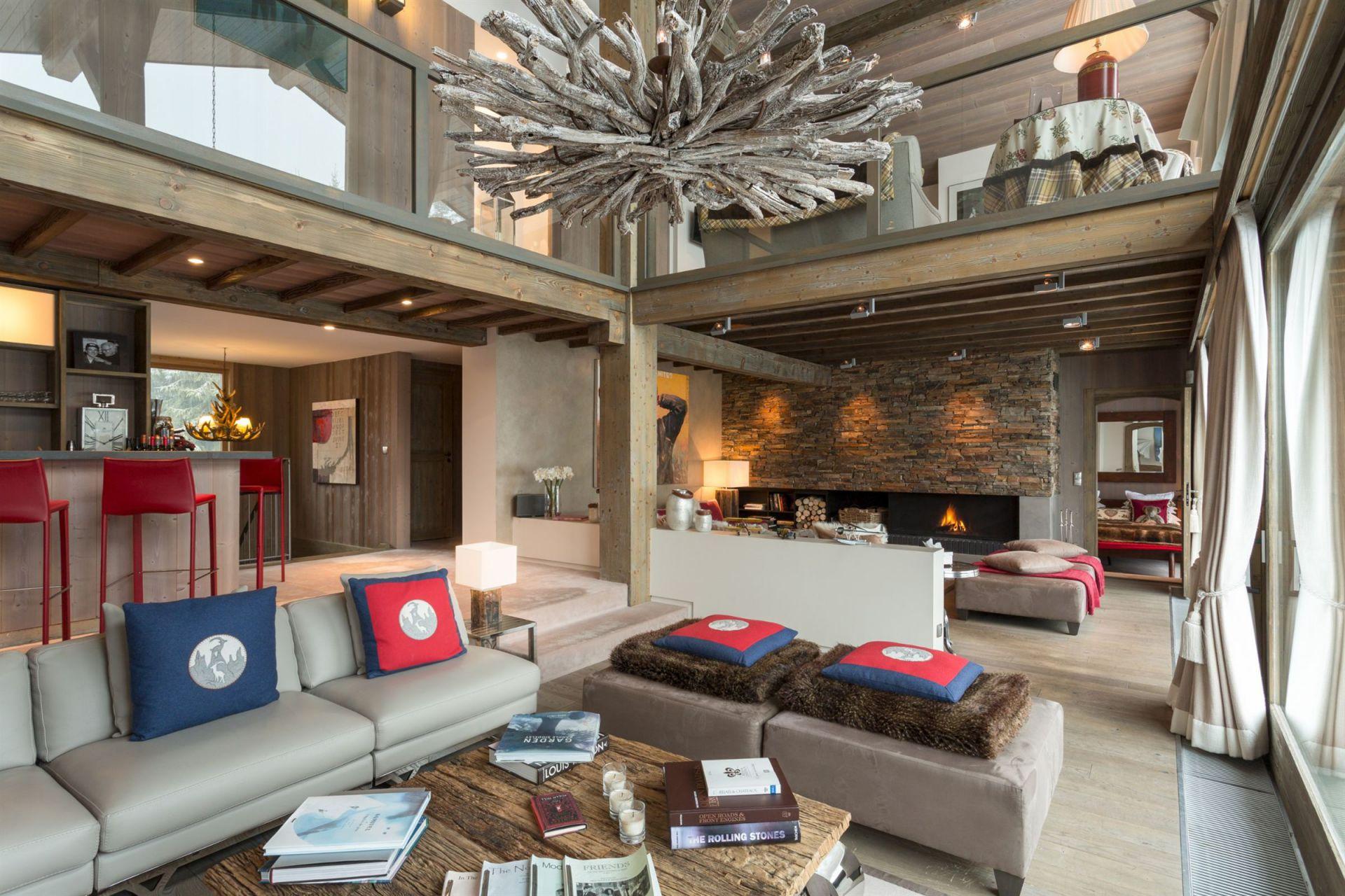 Дизайн интерьера гостиной комнаты в альпийском стиле