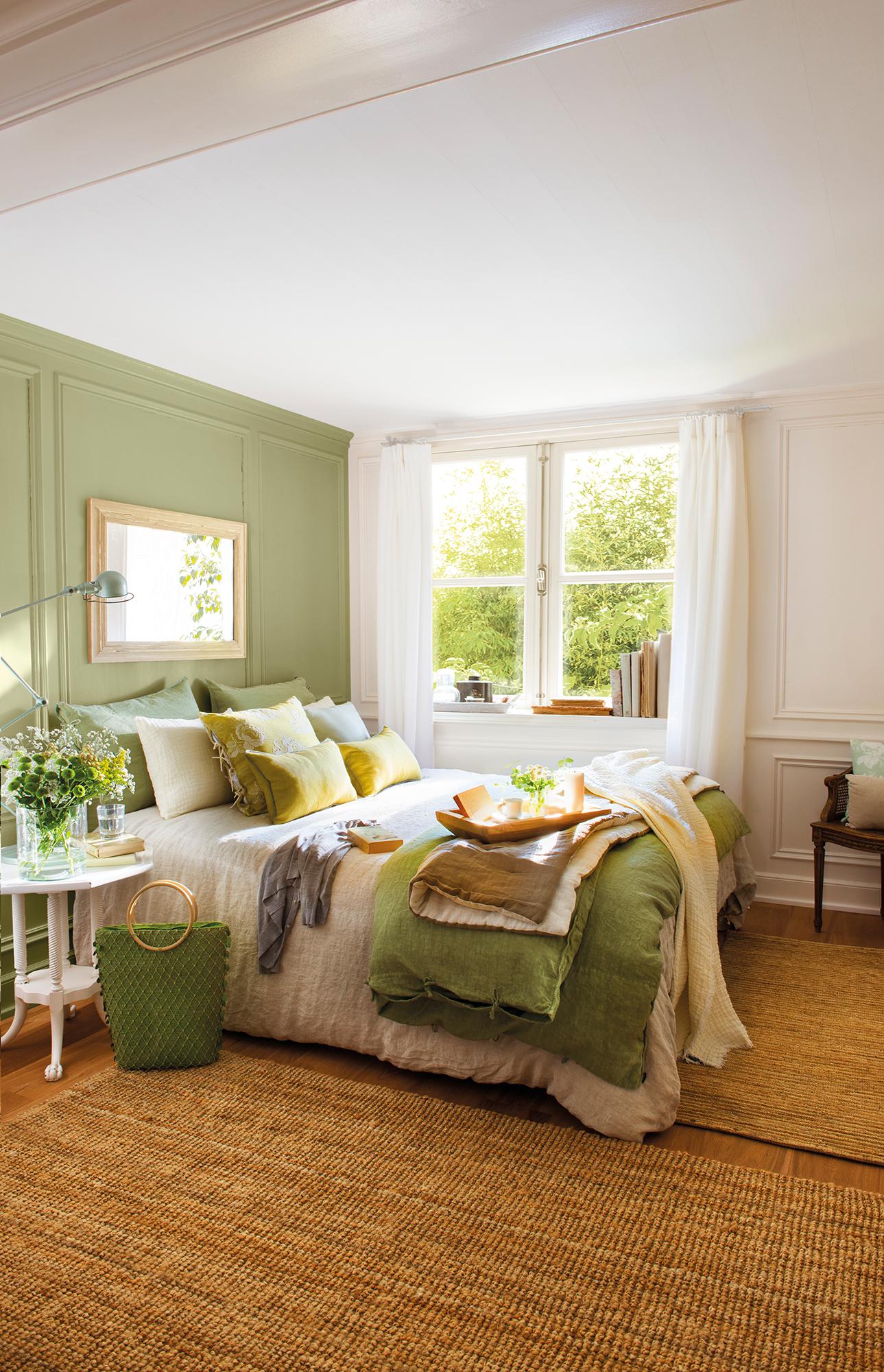 Спальня в стиле кантри в зеленом цвете