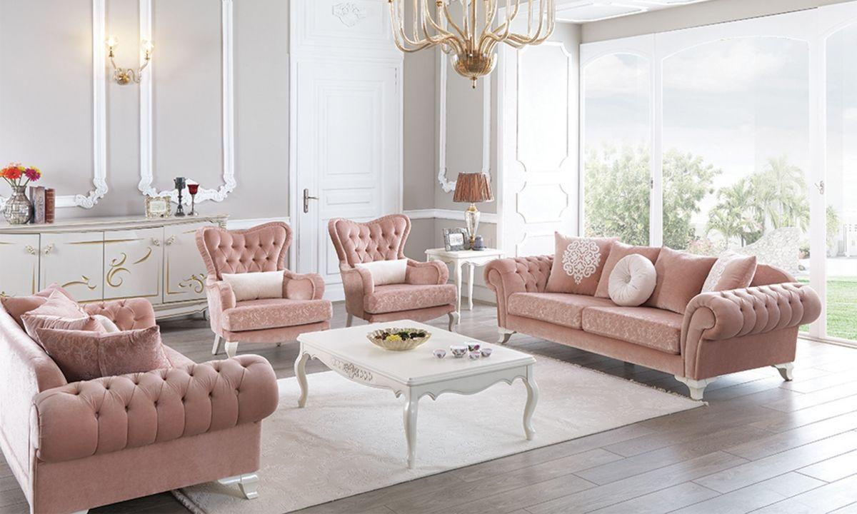 Мебель в розовом цвете в стиле ампир для гостиной