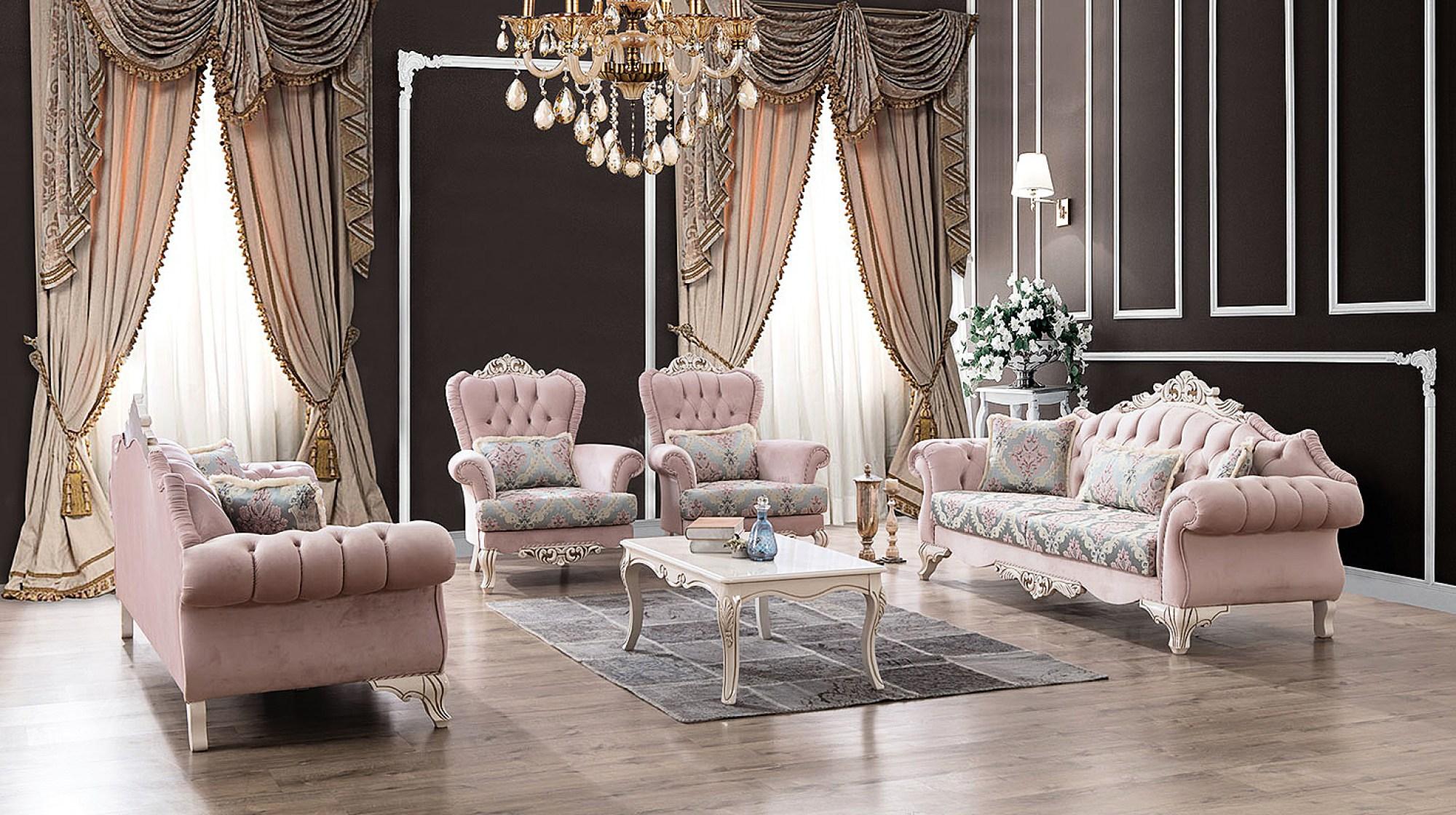 Мебель для гостиной с бархатной обивкой и стяжкой