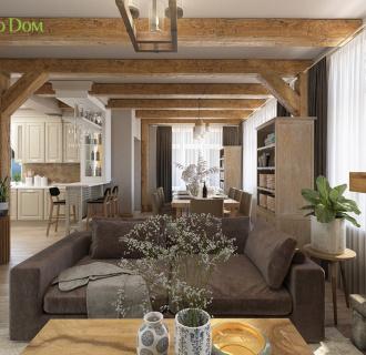 Дизайн интерьера двухкомнатного дома 73 кв. м в стиле шале. Фото проекта