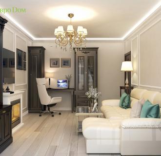 Дизайн двухкомнатной квартиры 52 кв. м в стиле неоклассика. Фото проекта